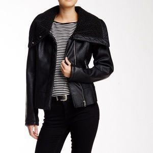 Sam Edelman Black Faux Leather Aviator Moro Jacket